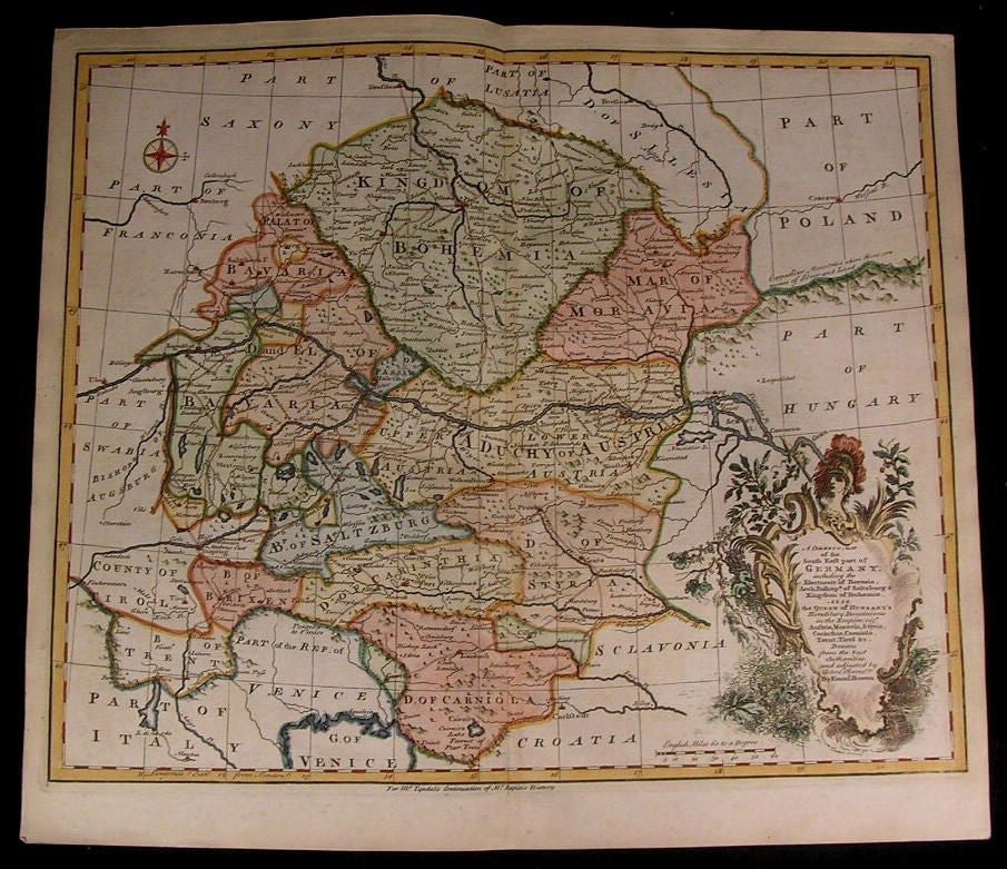 South East Germany Austria Styria 1751 antique decorative Bowen hand color map