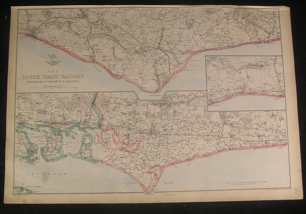 England South Coast Railway Portsmouth - Hastings Brighton c.1863 old Weller map