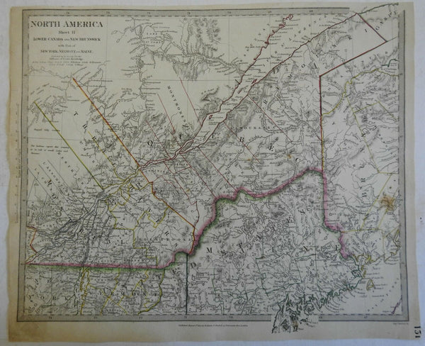 Quebec Montreal Maine New Brunswick Canada c. 1840 SDUK detailed antique map