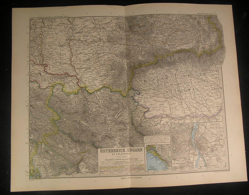 Austria Hungary Wallachia Serbia Transylvania 1894 antique engraved color map