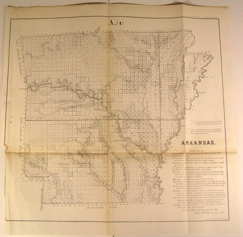 Arkansas Mississippi River Little Rock Columbia 1856 U.S.G. old state survey map