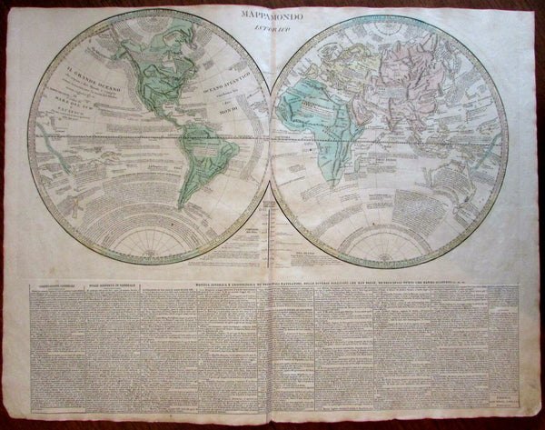 World Map 1813 Molini Italian Remarkable Mts. of Moon Australia strange US mts.
