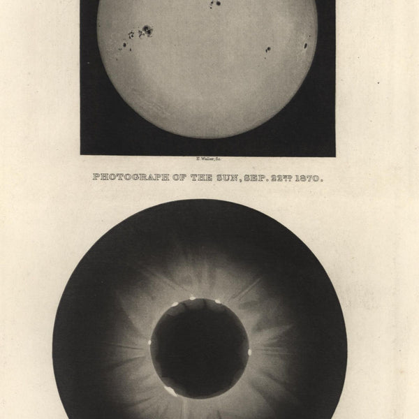 Celestial Sun photograph Sept 1870 Eclipse of 1871 nice 1892 litho print