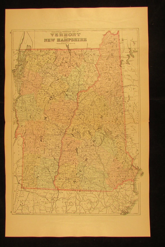 New Hampshire & Vermont state county township 1894 fine antique hand colored map