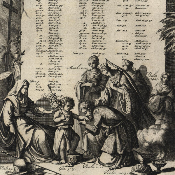 Religion Deuteronomy XVIII: XV Moses Christ child 1700 Goeree old engraved print