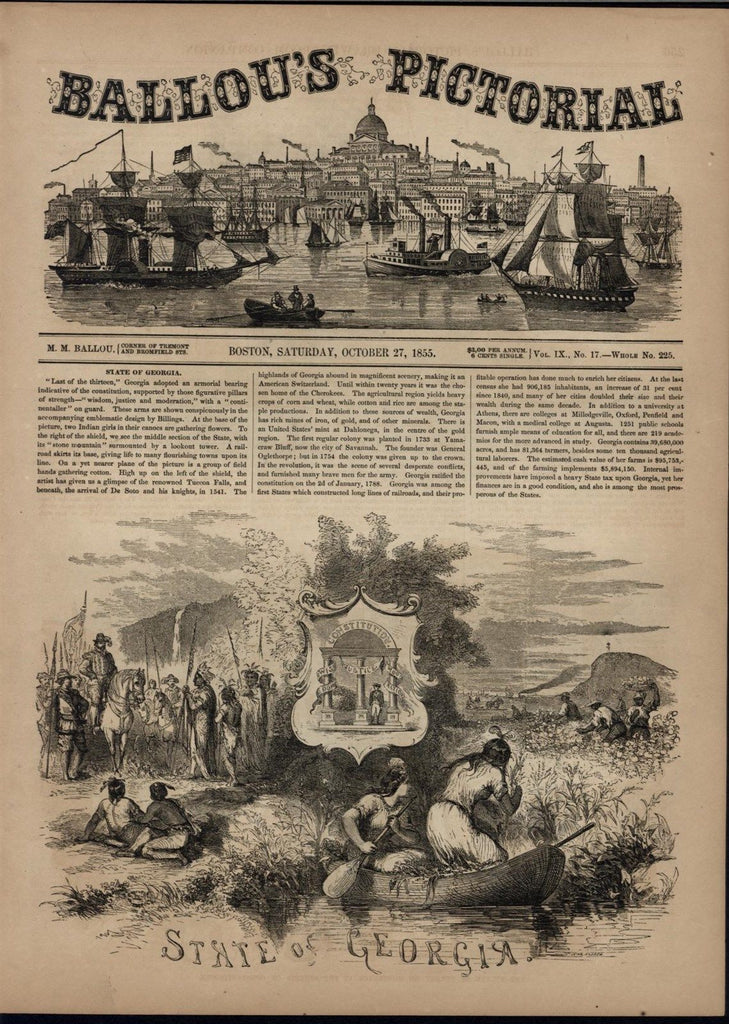 Georgia Slaves Pick Cotton Indians Spanish Colonists 1855 antique engraved print