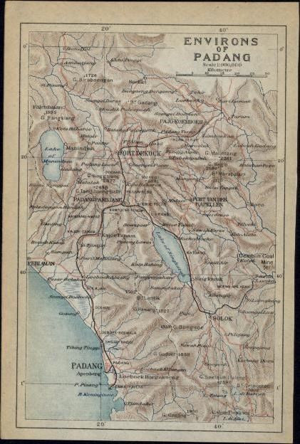 Padang West Sumatra Indonesia environs 1917 scarce Japanese detailed color map