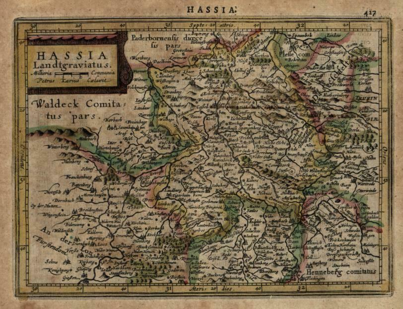Hesse Holy Roman Empire 1628 Mercator minor miniature beautiful engraved map