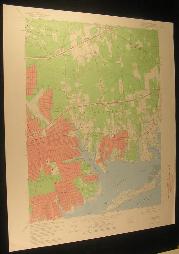 Moriches Suffolk County New York Fire Island 1970 antique color lithograph map