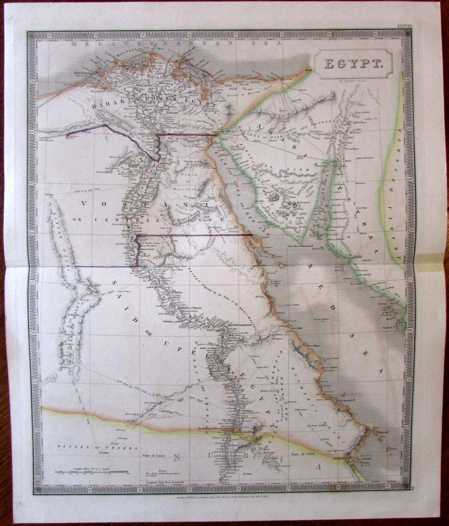 Egypt Africa c 1829 S  Hall large engraved hand color map Mt  Sinai  peninsula