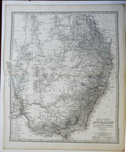 East Australia Queensland Victoria New South Wales 1874 Petermann detailed map