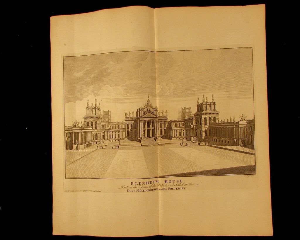 Blenheim House Duke Marlborough England c.1740 engraved view architecture print