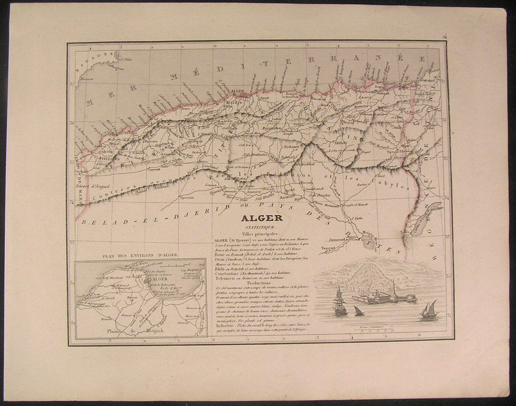 Algiers North Africa coast 1838 old vintage antique map w/ vignette view