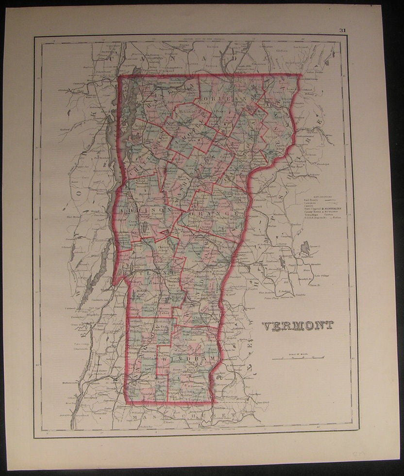 Vermont state scarce 1880 Colton re-issue old antique vintage hand color map