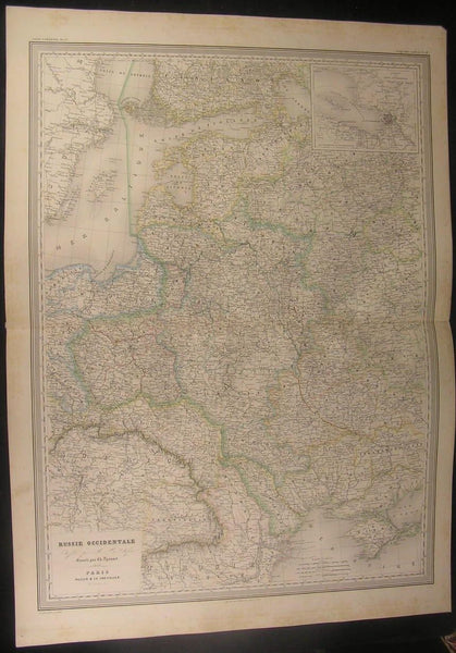 West Russia Baltic States Livonia 1856 Dufour massive antique map old hand color