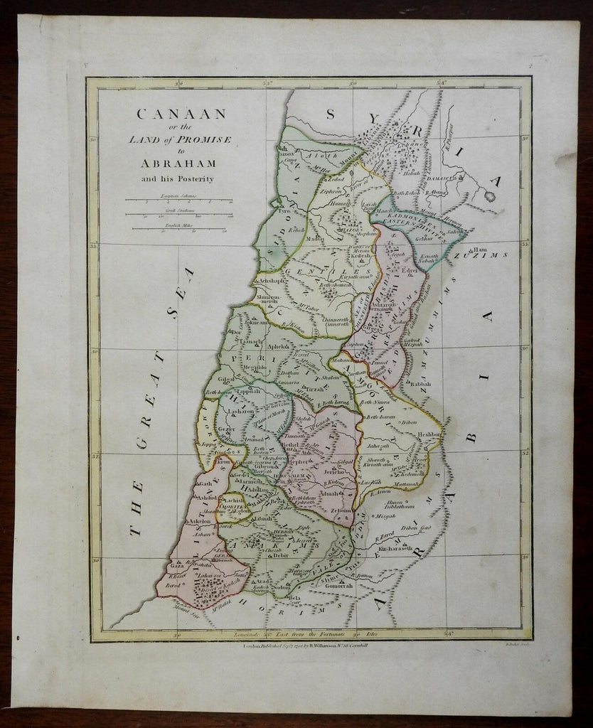 Holy Land Palestine Israel Canaan Jerusalem 1798 Wilkinson historical map