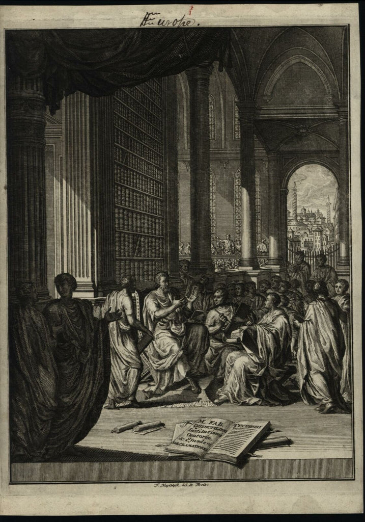 Oratory Institute philosophy ancient library books 1730 Frontis antique print