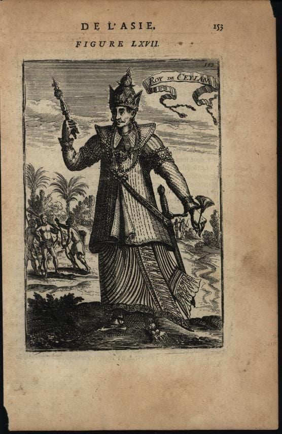 King of Ceylon Archers Regal Costume 1683 antique engraved print