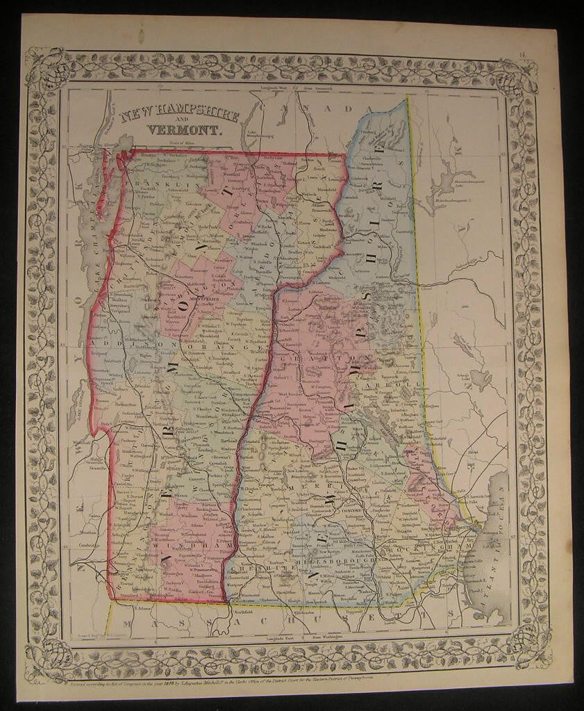 New Hampshire Vermont Lake Champlain 1870 antique engraved hand color map