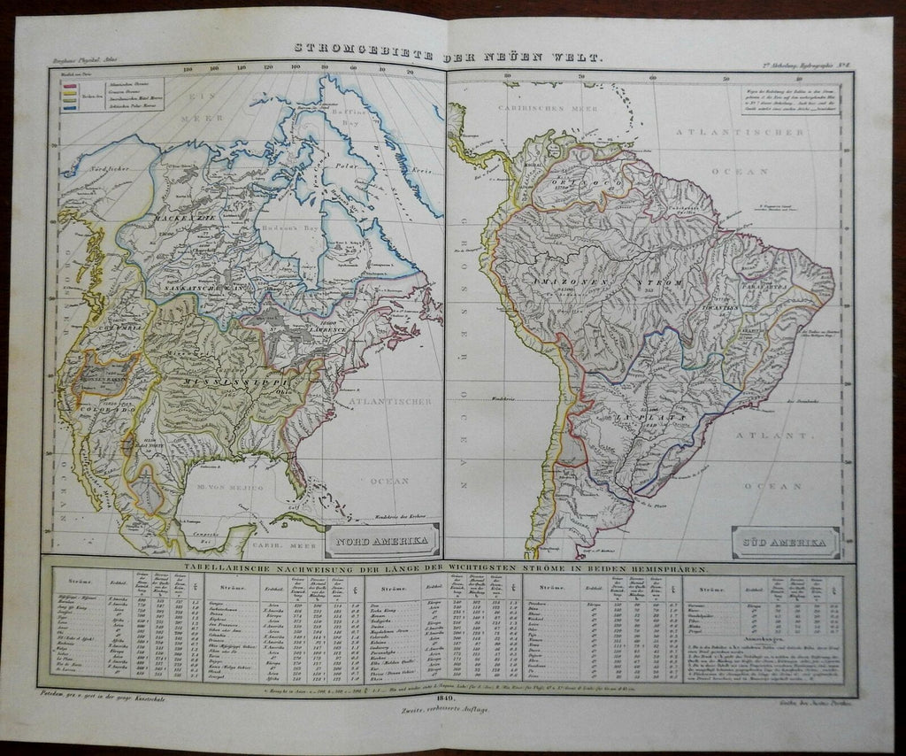 River Drainage Basins of North & South America Amazon Columbia 1849 Berghaus map