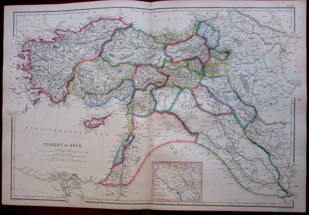 Turkey in Asia Syria Bagdad Mesopotamia Hughes 1860's detailed large map