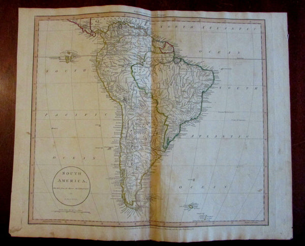 South America 1811 Russell Wilkie Robinson large scarce engraved map