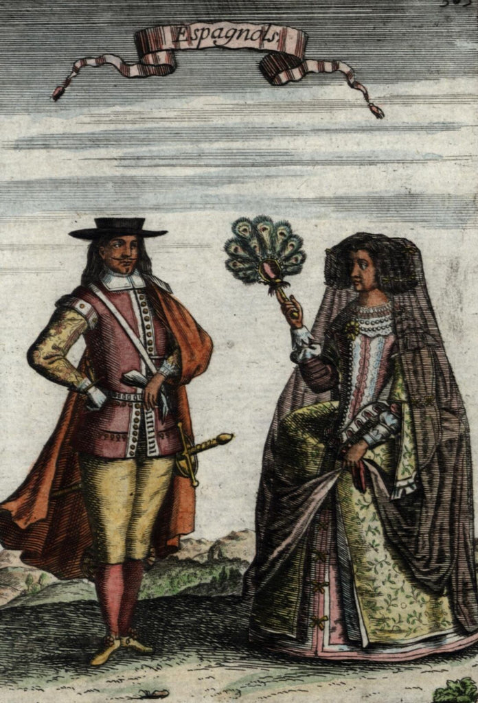 Spain Spaniards Spanish natives 1683 old Mallet ethnic costume dress hand color