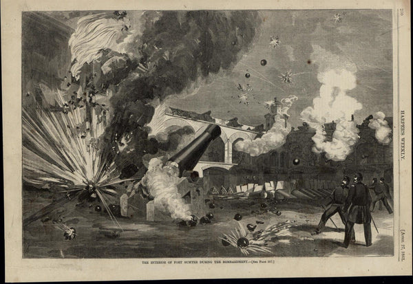 Fort Sumter Interior Bombardment Explosions 1861 great old print for display