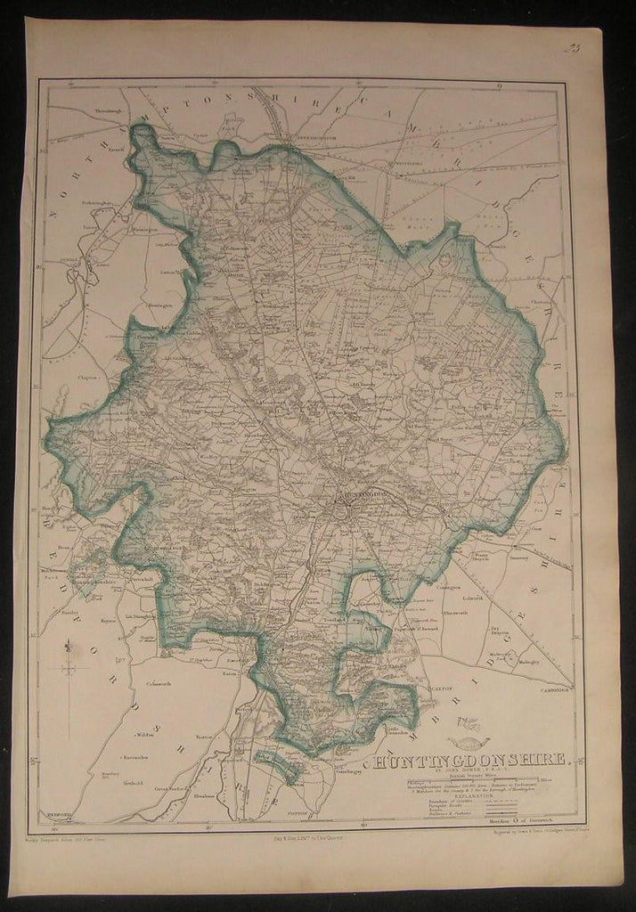 Huntingdonshire county England c.1863 old vintage detailed Dower folio map