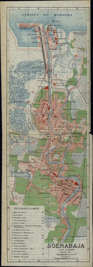 Soerabaja Java Dutch Indonesia city plan 1917 scarce detailed color folding map
