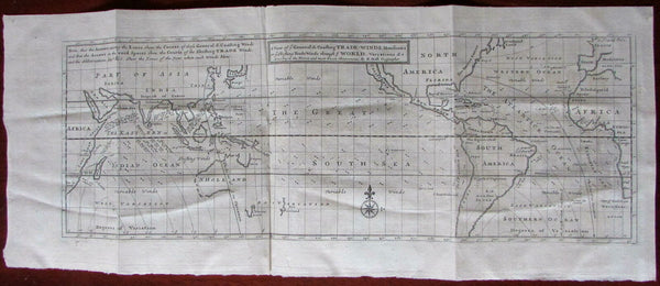 California as Island World Map c.1720 Moll Trade Winds British Empire