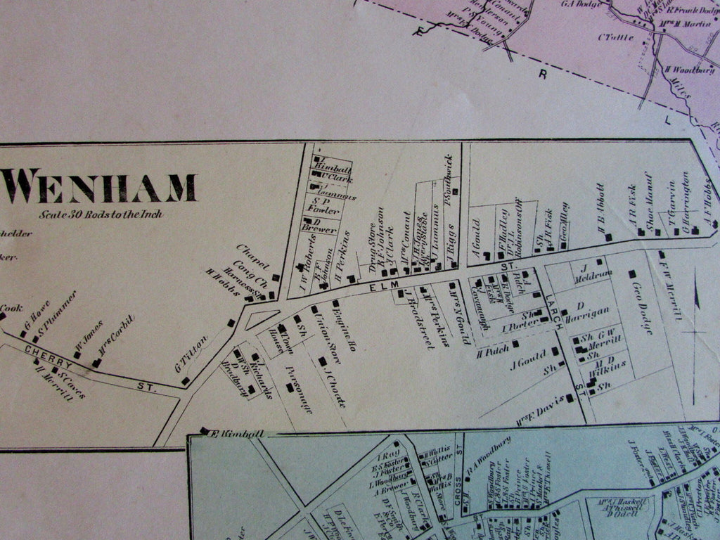 Wenham city center Cove Village Essex County Mass. 1872 detailed old map