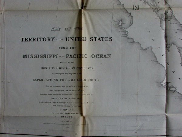 Warren's General Map North American US West 1854 Jefferson Davis huge RR Survey