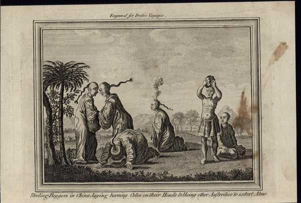Wandering Beggars Extorting Alms Self Torture Pain 1768 antique engraved print