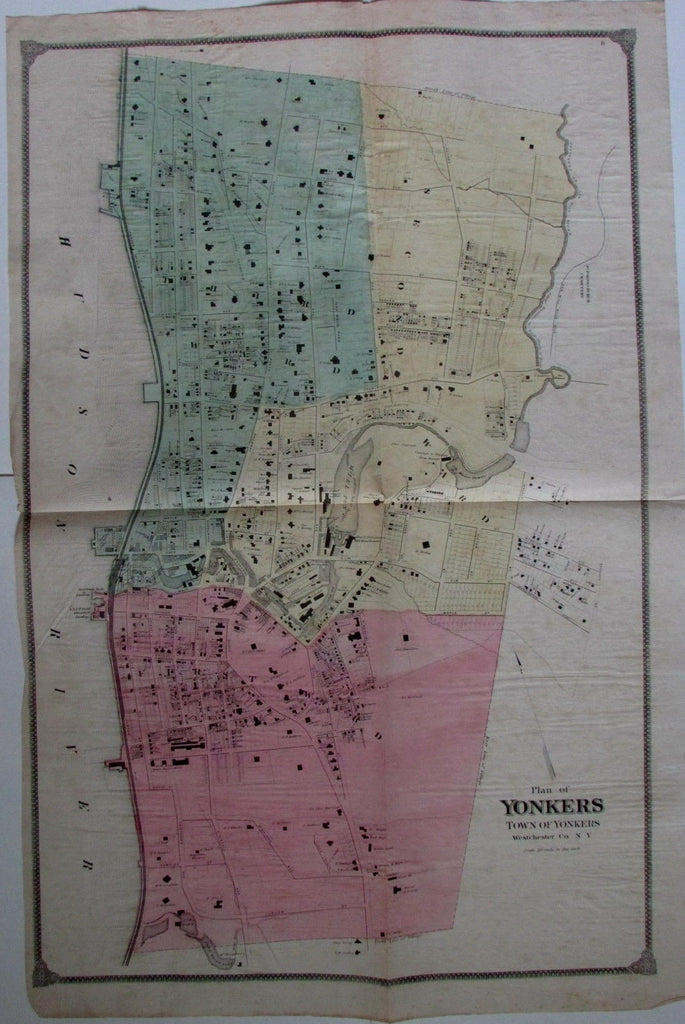 Yonkers New York Westchester County city street plan c.1870 large antique map
