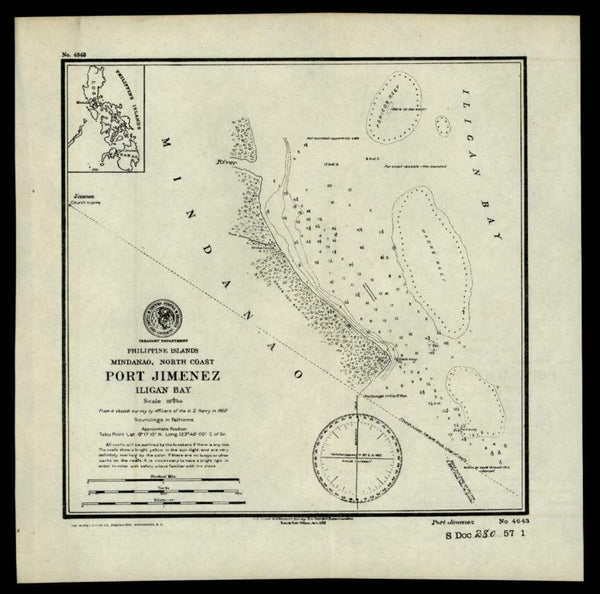 Philippine Islands Mindanao Port Jimenez Iligan Bay 1902 nautical chart map