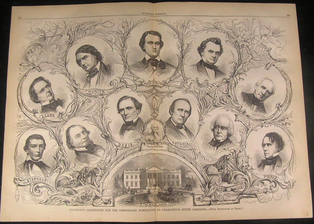 Candidates Democratic Nomination Jeff Davis 1860 antique engraved large print