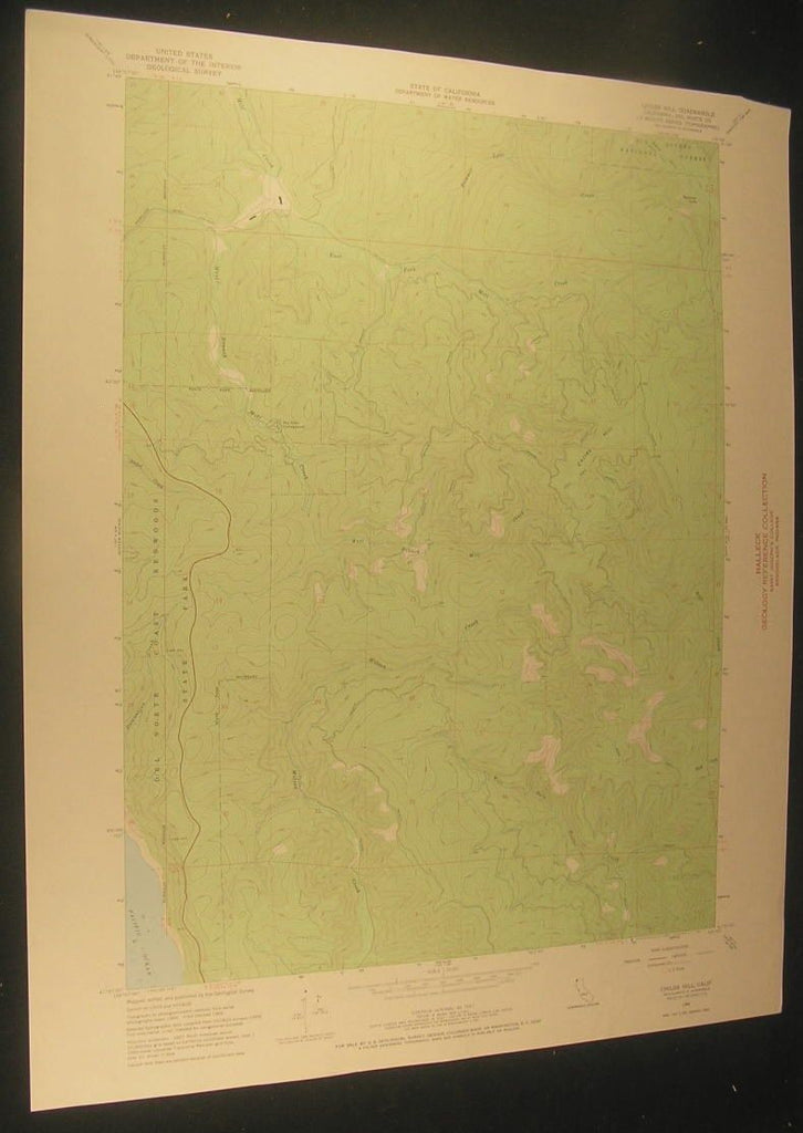 Childs Hill California Bummer Lake Creek 1968 antique color lithograph map