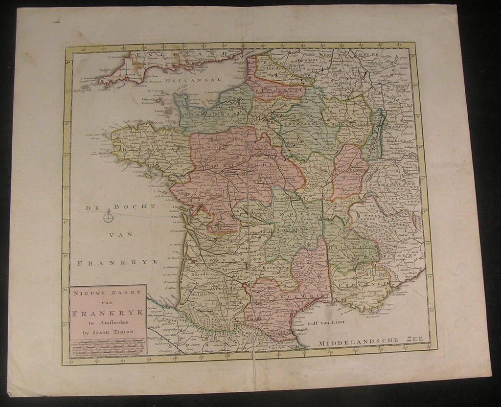 France rare map by Tirion c.1745 large antique fine large hand color map