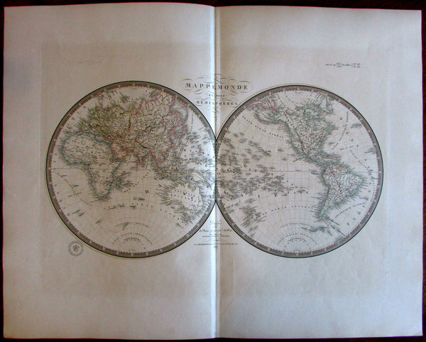 World in Hemispheres w/Lake Timpanogos Mts. of Moon Africa 1836 Brue large map