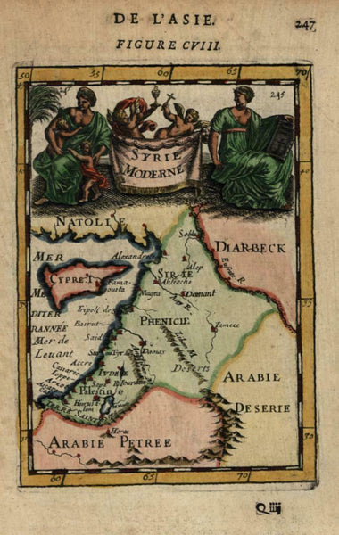 Syria Middle East Holy Land 1683 Mallet miniature decorative map hand color