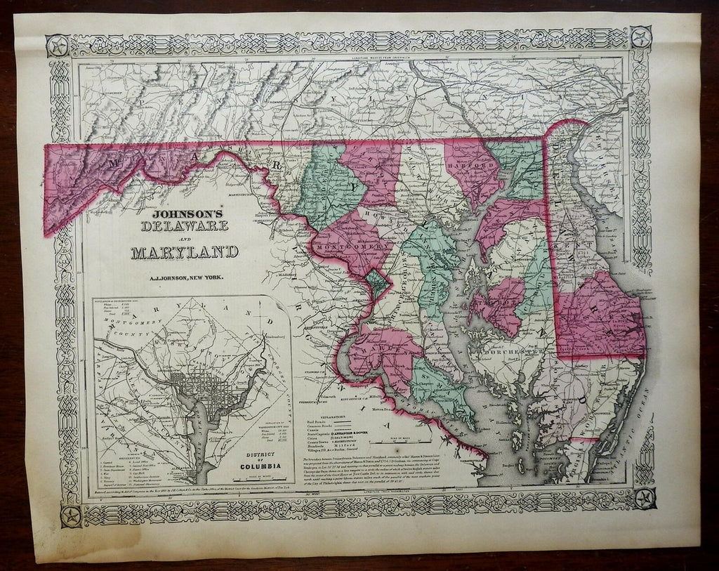 Maryland & Delaware Washington D.C. 1867-8 Johnson & Ward map Scarce Issue