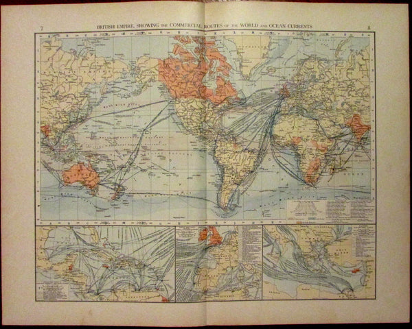 British Empire World Map Ocean Currents c.1900 color lithographed antique map