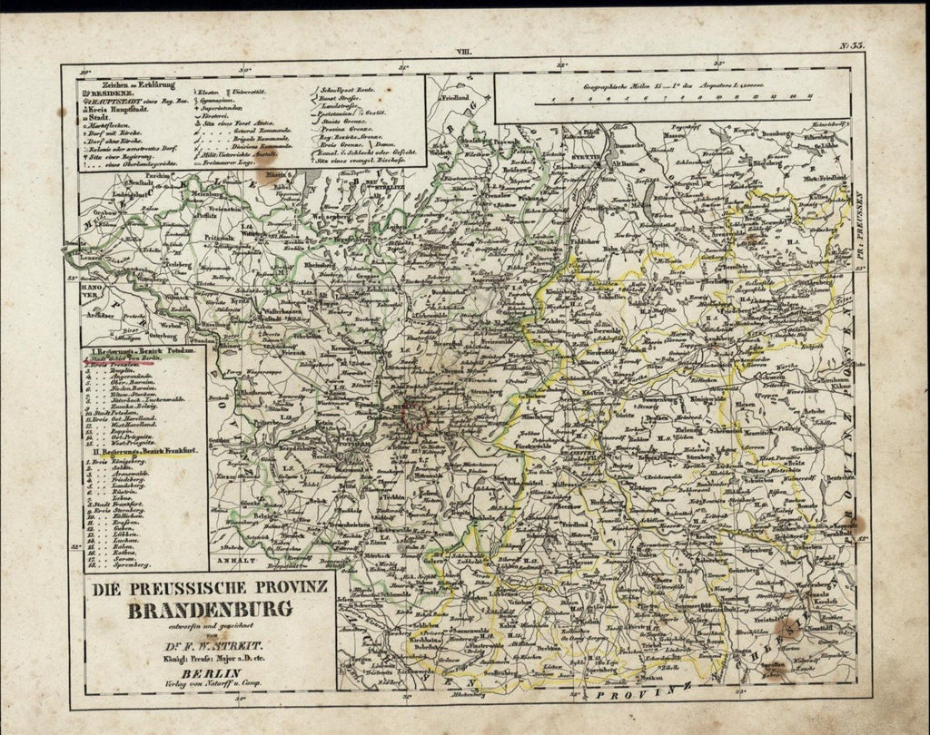 Brandenburg Germany Prussian Province Berlin Potsdam nice c. 1835 scarce old map