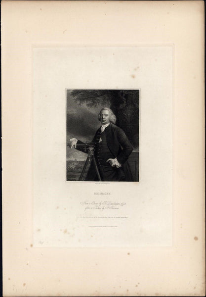 Brindley English engineer 1834 rare engraved portrait print India proof