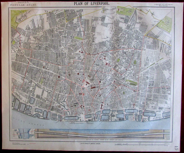 Liverpool England Britain U.K. 1883 Lett's SDUK urban center city plan