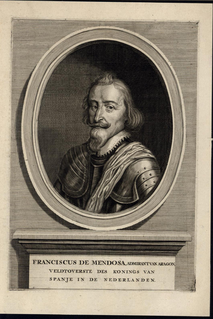 Franciscus de Mendoza Chief Captain Spain c.1745 antique engraved portrait print