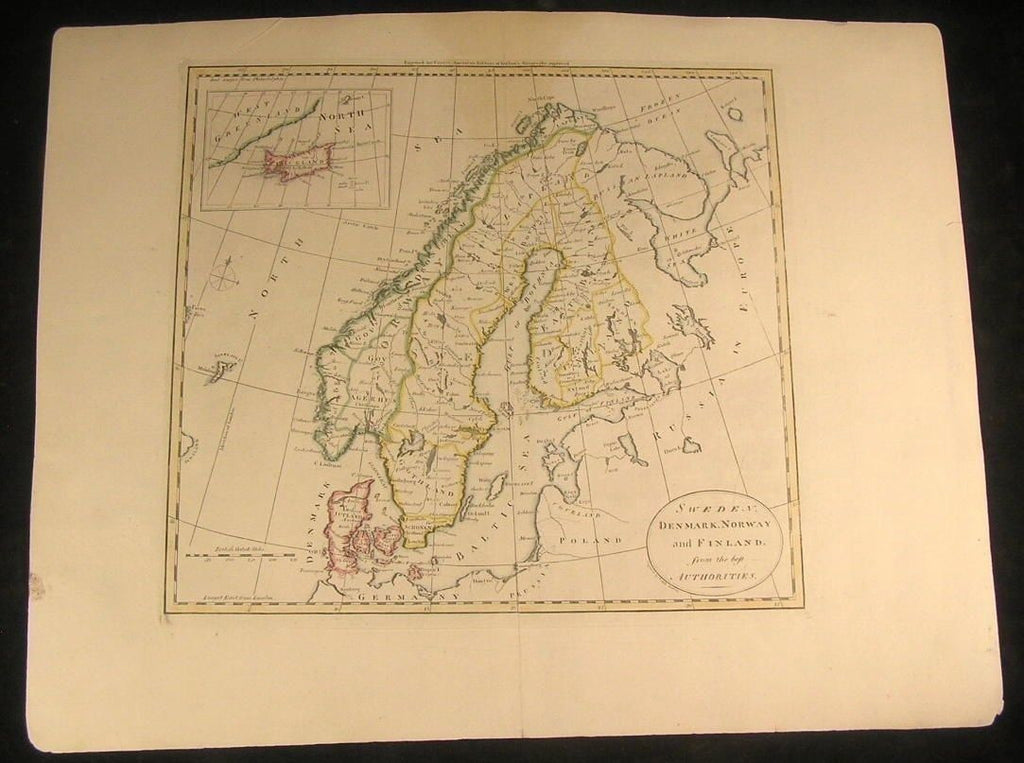 Sweden Norway Denmark Gulf  Finland 1796 antique M. Cary engraved hand color map