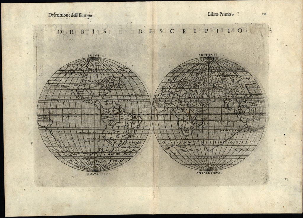 World double hemispheres unknown America 1599 Ruscelli Rosaccio Shirley #110