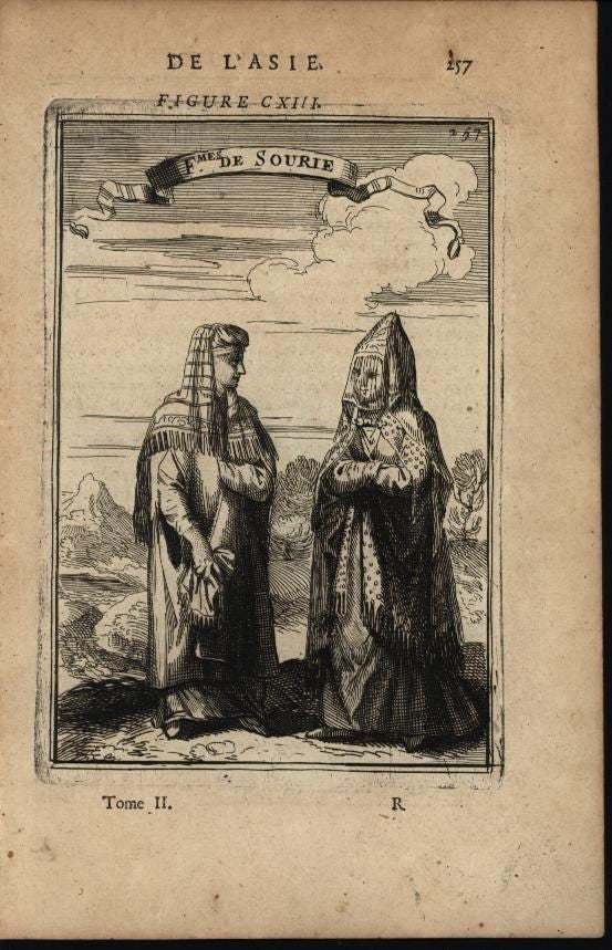 Women of Sourie Native Costumes Muslim Veiled Face 1683 antique engraved print